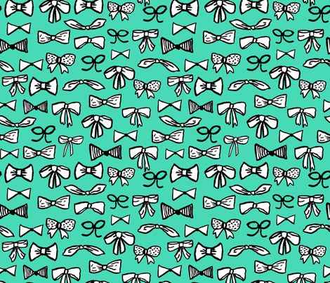 bows // fashion beauty print in light jade for trendy girls illustration pattern fabric by andrea_lauren on Spoonflower - custom fabric