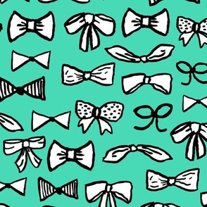 bows // fashion beauty print in light jade for trendy girls illustration pattern