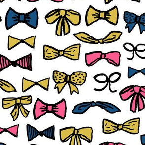 bows // fashion inky hand-drawn illustration pattern for pink and gold for trendy girls