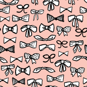 bows // fashion trendy inky hand-drawn beauty print for trendy girls in pale pink illustration pattern