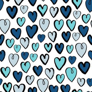 hearts // blue valentines blue love blue valentine repeating illustration pattern