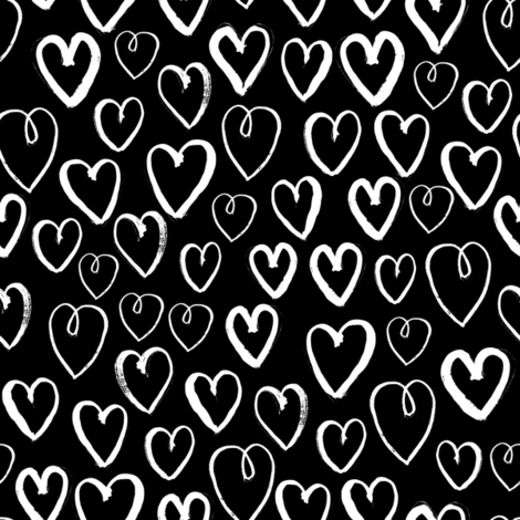 hearts // black and white gender neutral trendy scandi repeating print for baby nursery fabric by andrea_lauren on Spoonflower - custom fabric