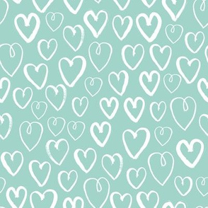 hearts // mint cool gender neutral love valentines illustration design