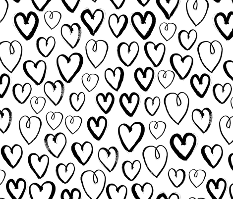 heart // black and white love heart valentines trendy 2016 design fabric by andrea_lauren on Spoonflower - custom fabric