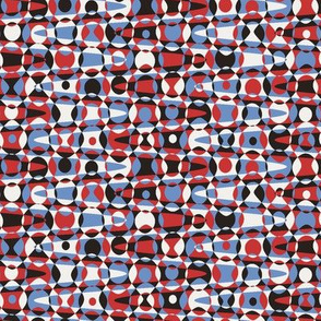 retro zigzag dots in 50s colors