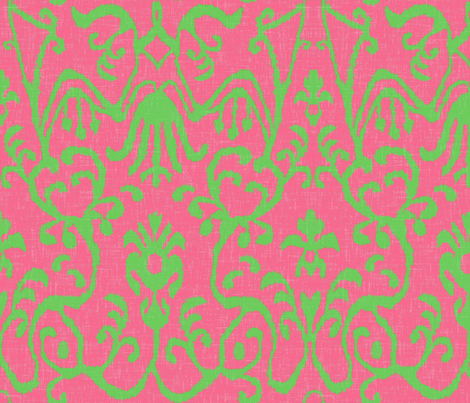 Lucette Ikat in Bright Pink and Lime fabric by willowlanetextiles on Spoonflower - custom fabric