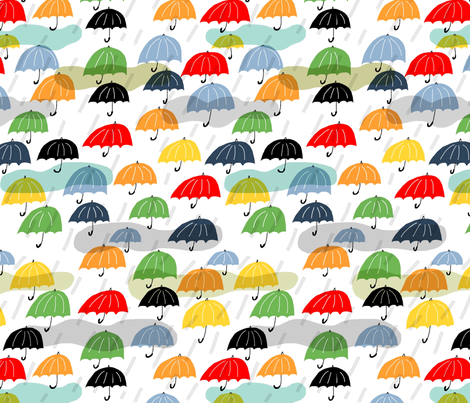raining umbrellas fabric by kimmurton on Spoonflower - custom fabric