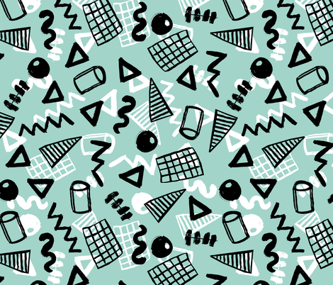 memphis // 90s 80s mint shapes zig zag triangles fabric by andrea_lauren on Spoonflower - custom fabric