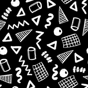 memphis // black and white memphis zig zag trendy kids