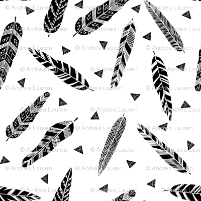 Inky Feathers fabric //- White and Black by Andrea Lauren