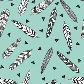 Inky Feathers fabric // - Pale turquoise by Andrea Lauren