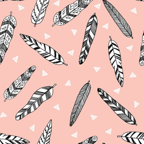Inky Feathers fabric //- Pale Pink by Andrea Lauren