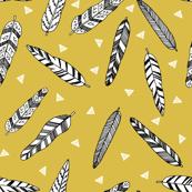 Inky Feathers - Mustard by Andrea Lauren