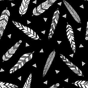 Inky Feathers fabric // - Black and White by Andrea Lauren