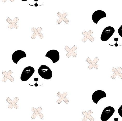 panda & crosses pink fabric by miamea on Spoonflower - custom fabric