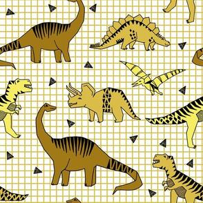 dinos // mustard dinosaurs dino kids baby yellow grid