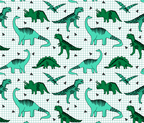 dino // green dinos dinosaurs prehistoric kids t-rex fabric by andrea_lauren on Spoonflower - custom fabric