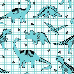 dinos // turquoise dinosaur t-rex prehistoric jurassic kids baby boy blue grid