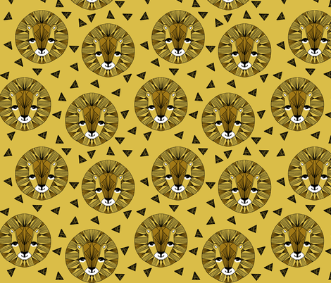 Lion Face - Mustard by Andrea Lauren  fabric by andrea_lauren on Spoonflower - custom fabric
