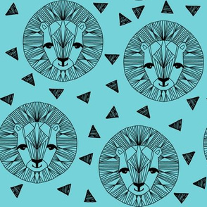 Lion Face - Aqua by Andrea Lauren