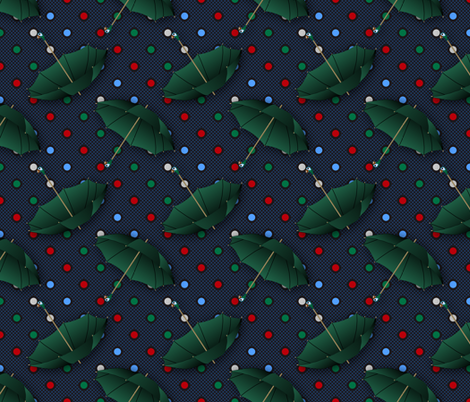 Green Umbrellas (Mary Poppins Coordinate) fabric by vannina on Spoonflower - custom fabric