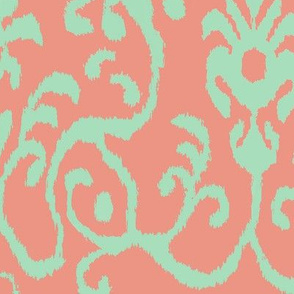 Lucette Ikat in Coral and Mint
