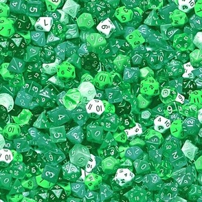 a sea of green dice