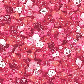 a sea of pink dice