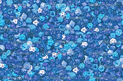 a sea of blue dice