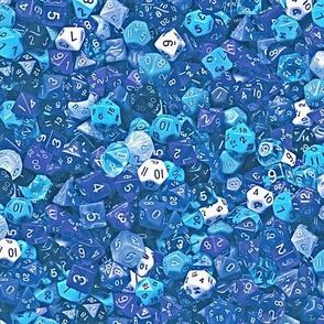 a sea of blue dice