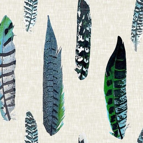 Luxe feathers in Shades of Blue and Green