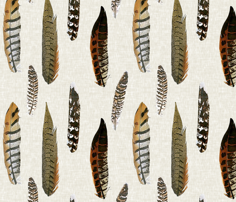 Luxe Feathers in Autumn fabric by willowlanetextiles on Spoonflower - custom fabric