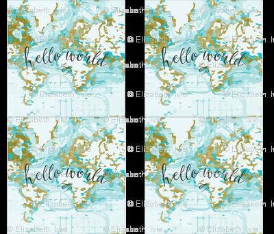 "Hello World Pillow Cover // Mustard // 18"""