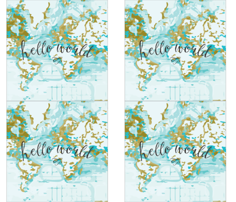 """Hello World Pillow Cover // Mustard // 18"""" fabric by ivieclothco on Spoonflower - custom fabric"""
