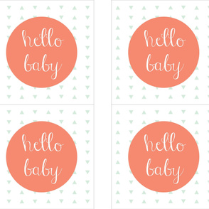 """Hello Baby Coral Mint Pillow Cover // 18"""""""