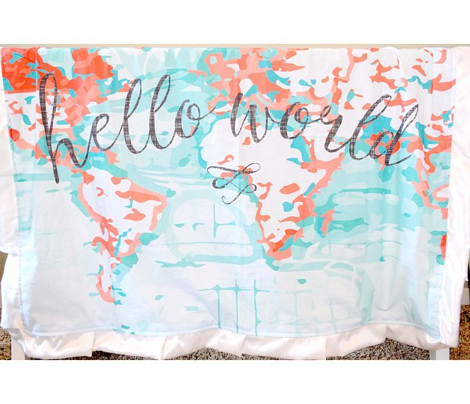Hello World Baby Blanket or Swaddle // coral