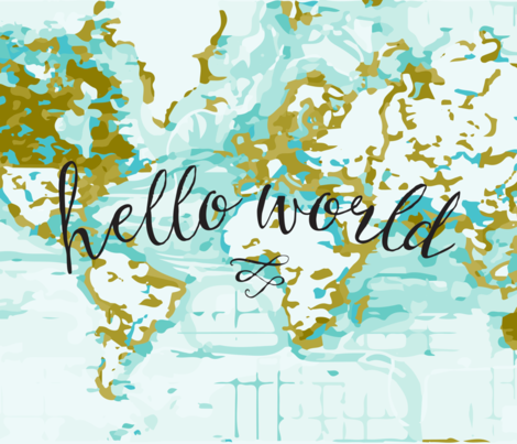Hello World Baby Blanket Or Swaddle Mustard Fabric