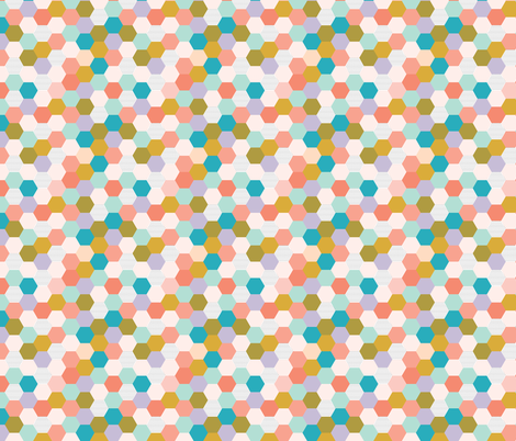hexagon // spring // small fabric by ivieclothco on Spoonflower - custom fabric