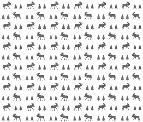 moose trot // in charcoal linen fabric by ivieclothco on Spoonflower - custom fabric