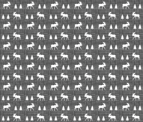 moose trot // on charcoal linen fabric by ivieclothco on Spoonflower - custom fabric