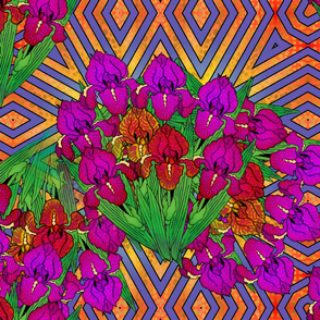 flowers_irises_on_chevrons_different