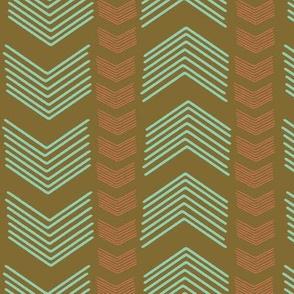Herringbone Stripe in Coral and Mint