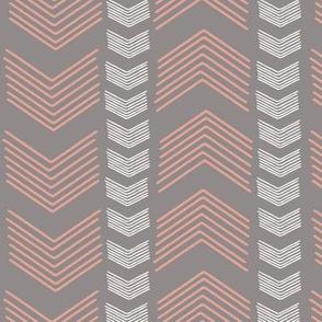 Herringbone Stripe in Cashmere and Pink