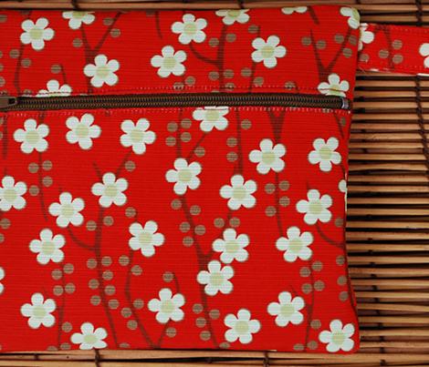 Cherry blossom (cream on red)