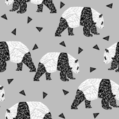 Geometric Panda - Slate and Black