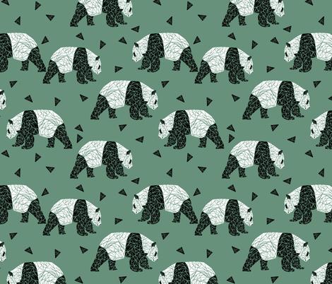 Geometric Panda - Viridian by Andrea Lauren  fabric by andrea_lauren on Spoonflower - custom fabric