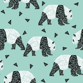 Geometric Panda - Pale Turquoise by Andrea Lauren
