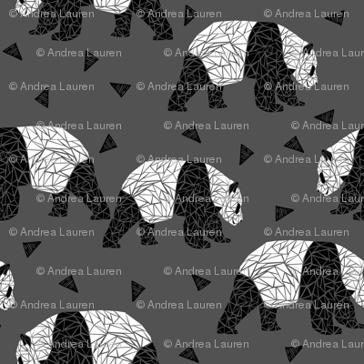 Geometric Panda - Charcoal by Andrea Lauren