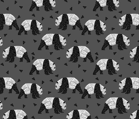 Geometric Panda - Charcoal by Andrea Lauren  fabric by andrea_lauren on Spoonflower - custom fabric