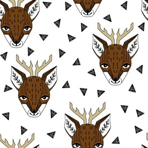 Deer Face - White and Brown by Andrea Lauren